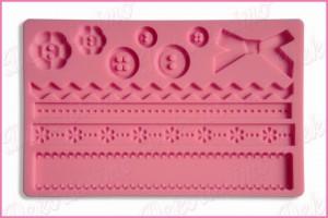 K4410 - Silikonska modla reljefna dugmići i čipka