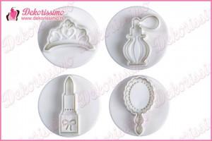 Modle sa izbacivačem ogledalce, parfem, karmin i tijara, set 4 kom - K8330
