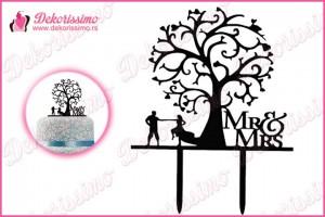 Toper za torte Mr&Mrs ispod drveta - K8237