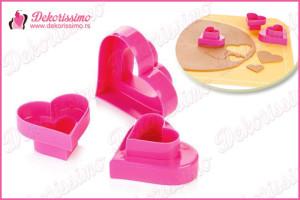Sekači dvostrani srce, set 3 kom - K8368