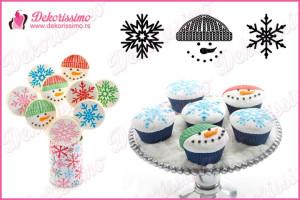 Teksture za cupcakes zimske, sneško i 2 vrste pahulja, set 3 teksture – K8296