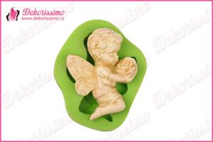 Silikonska modla bebi anđeo sa ružom – K8259